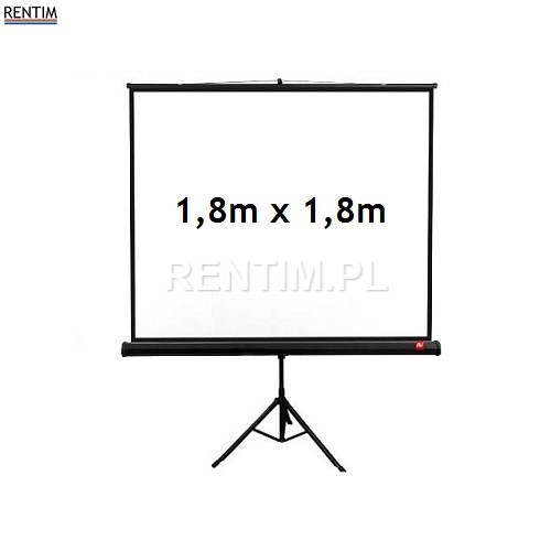 Wynajem ekranu projekcyjnego na stojaku, powierzchnia 1,8m x 1,8m