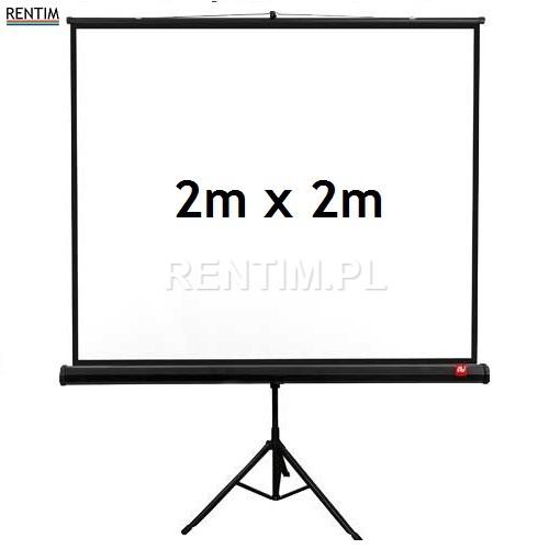 Wynajem ekranu projekcyjnego na stojaku, powierzchnia 2m x 2m