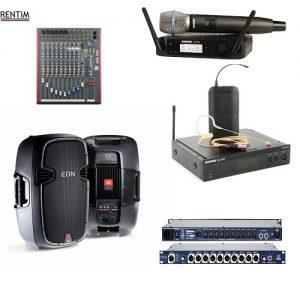 Nagłośnienie: głośniki, mikrofony, kostki dziennikarskie itp.