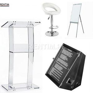 Wynajem sprzętu konferencyjnego: mównice, promptery (monitory podłogowe), flipcharty itp.