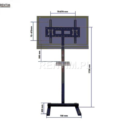 Wynajem uniwersalnego stojaka STANDARD do plazm, telewizorów LCD / LED