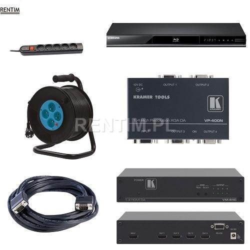 Wynajem splitterów HDMI VGA, okablowania, akcesoriów AV IT